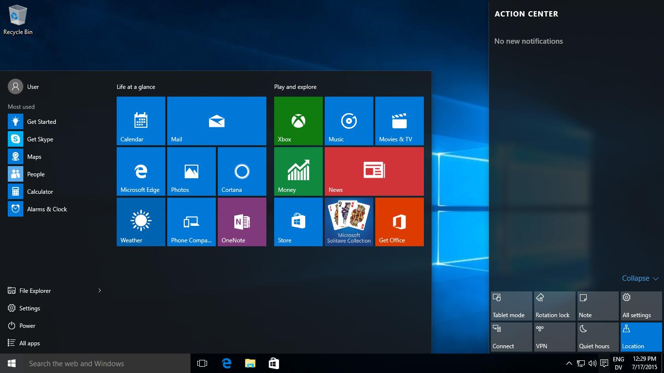 Microsoft Windows 10 screenshot
