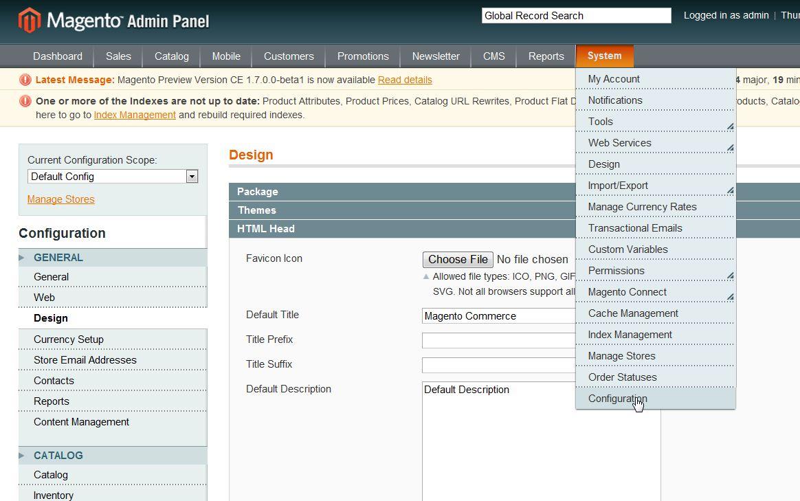 Magento Community edition menu screenshot