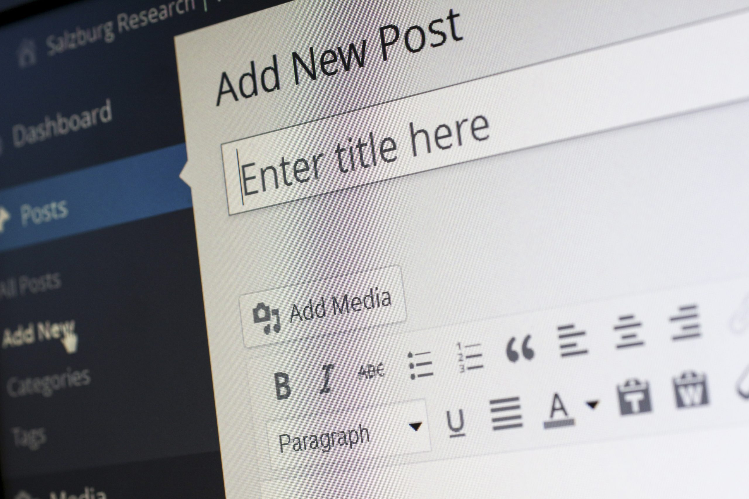 WordPress - add a new post function